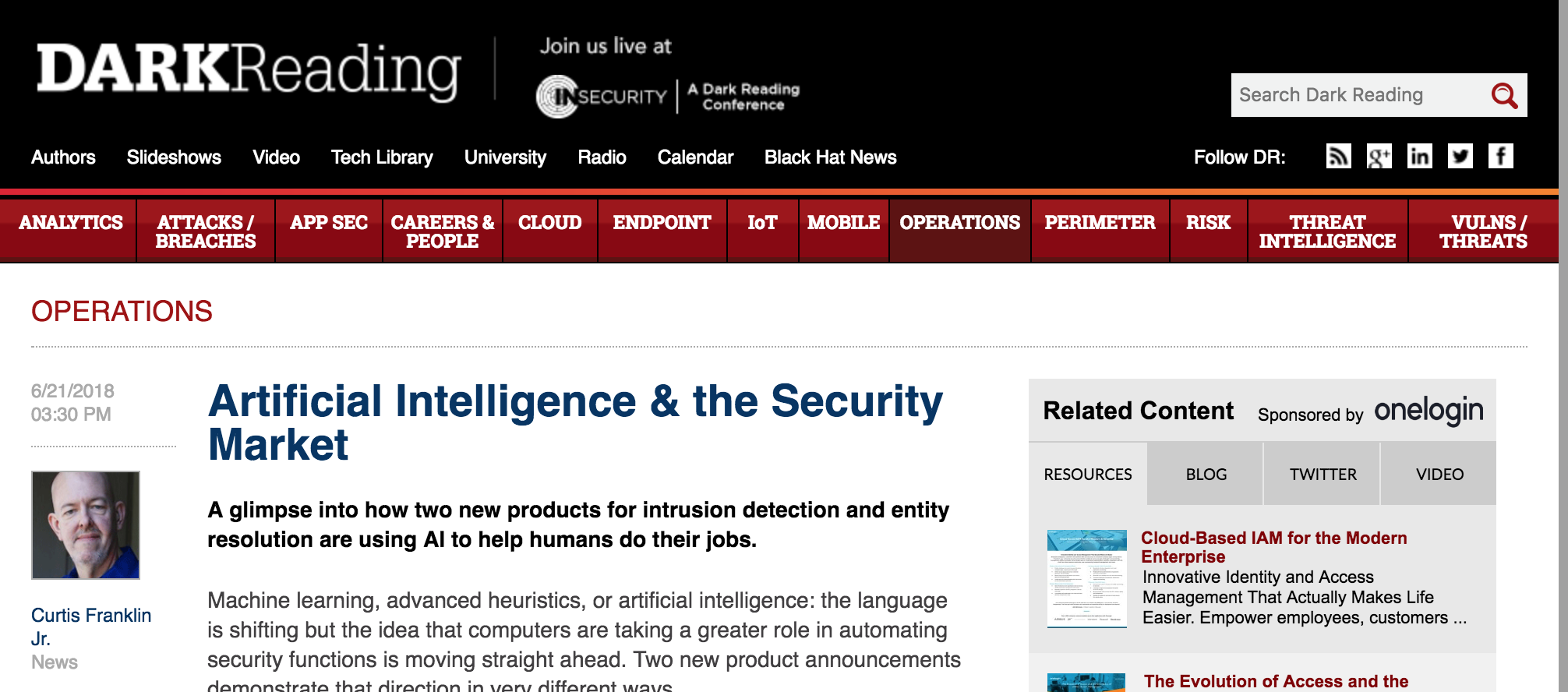Artificial Intelligence & the Security Market